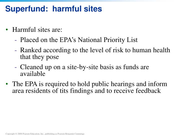 Superfund:  harmful sites