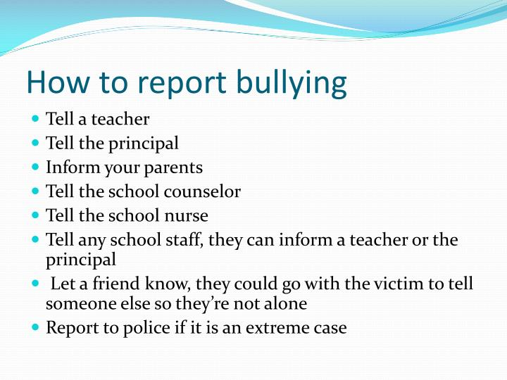 How to report bullying