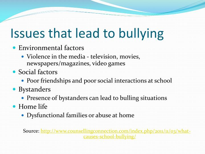 Issues that lead to bullying