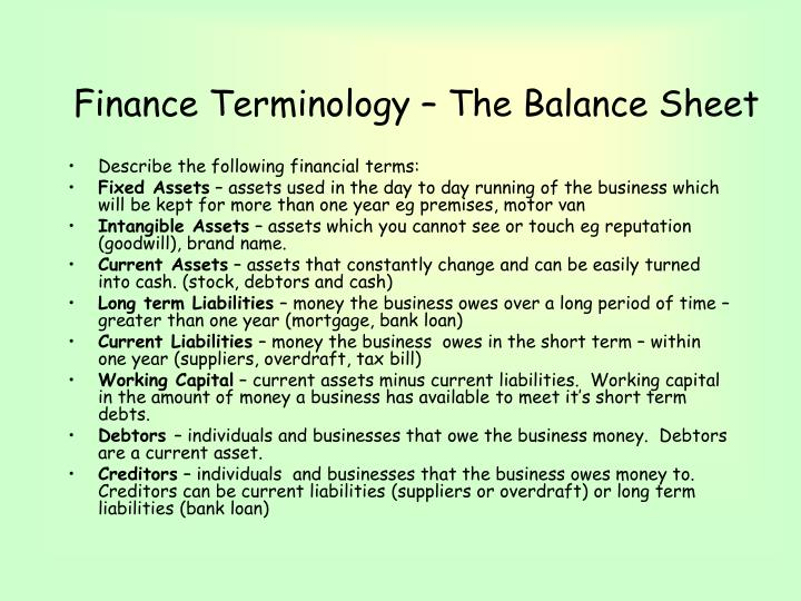 Finance Terminology – The Balance Sheet