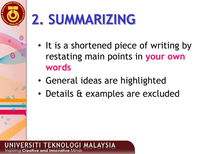 2. SUMMARIZING