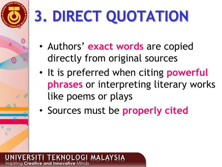 3. DIRECT QUOTATION
