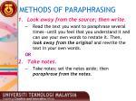 methods of paraphrasing