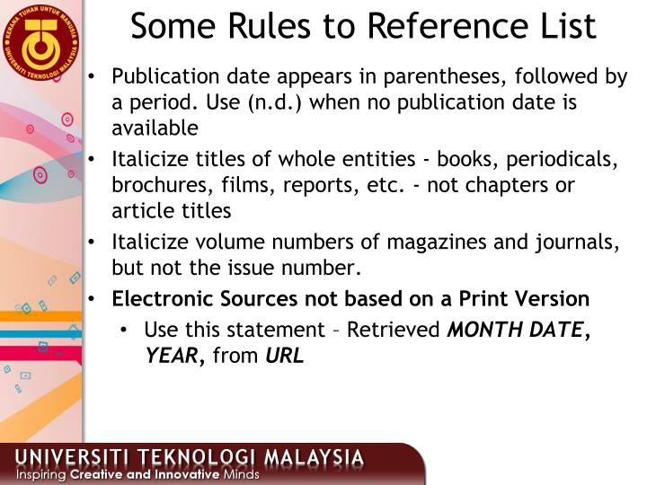 Some Rules to Reference List
