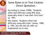 some rules to in text citation direct quotation