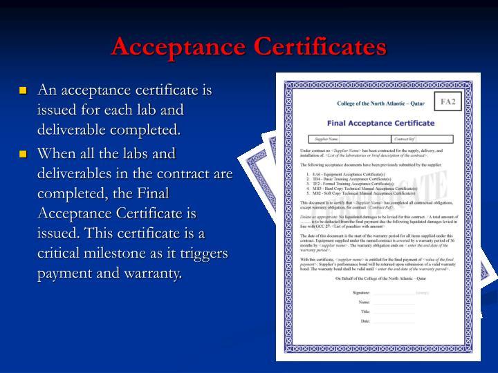 Acceptance Certificates