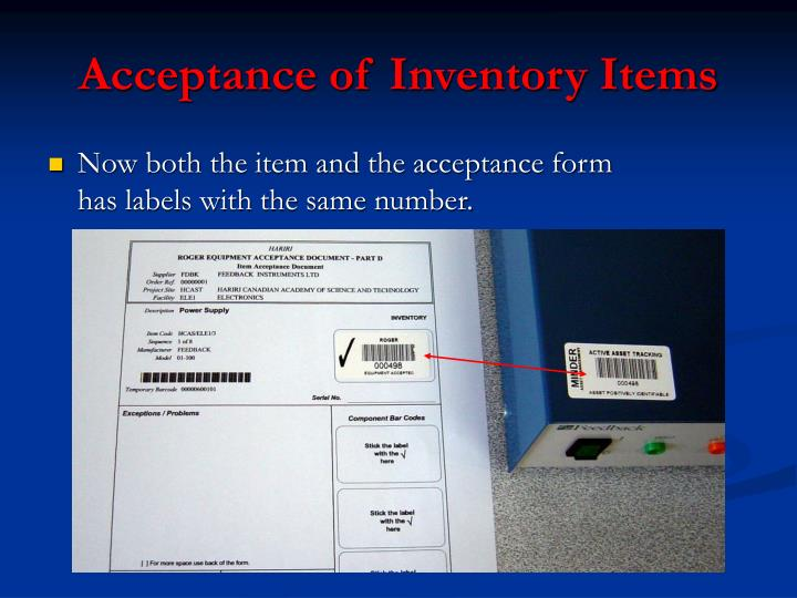 Acceptance of Inventory Items