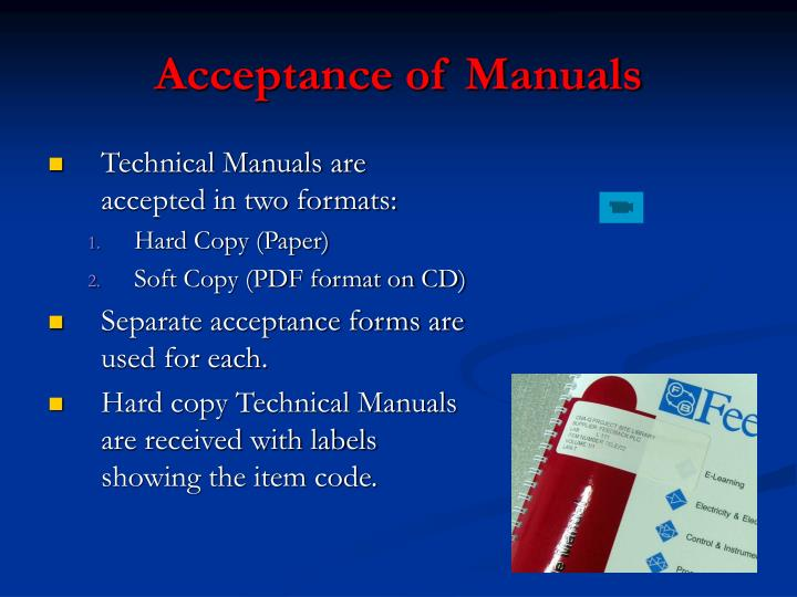 Acceptance of Manuals
