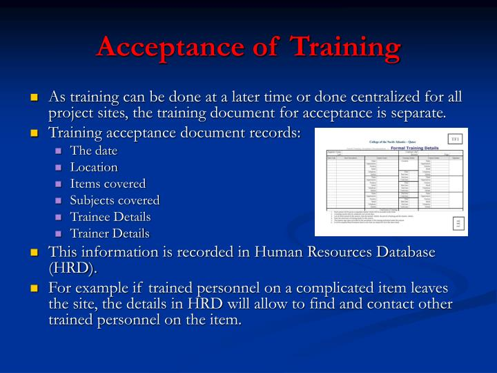 Acceptance of Training