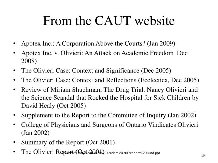 From the CAUT website