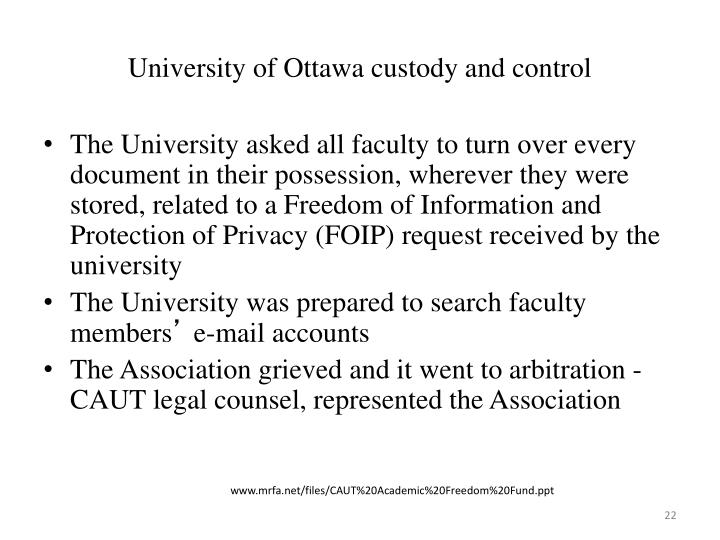University of Ottawa custody and control