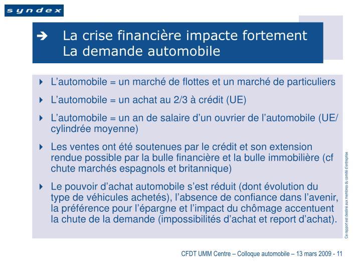 La crise financière impacte fortement La demande automobile