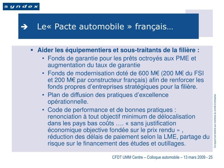 Le«Pacte automobile» français…