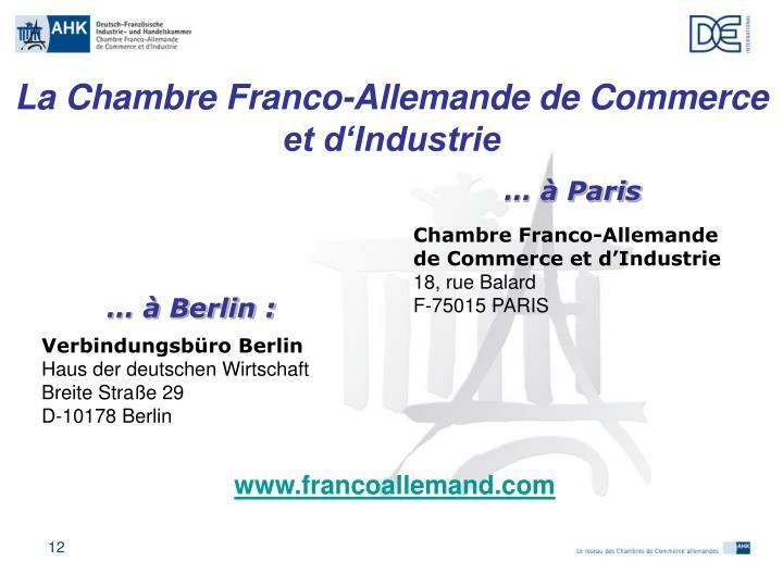 Ppt les relations conomiques franco allemandes chambre for Chambre de commerce franco arabe paris