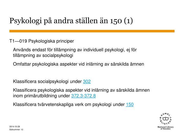 Psykologi på andra ställen än 150 (1)