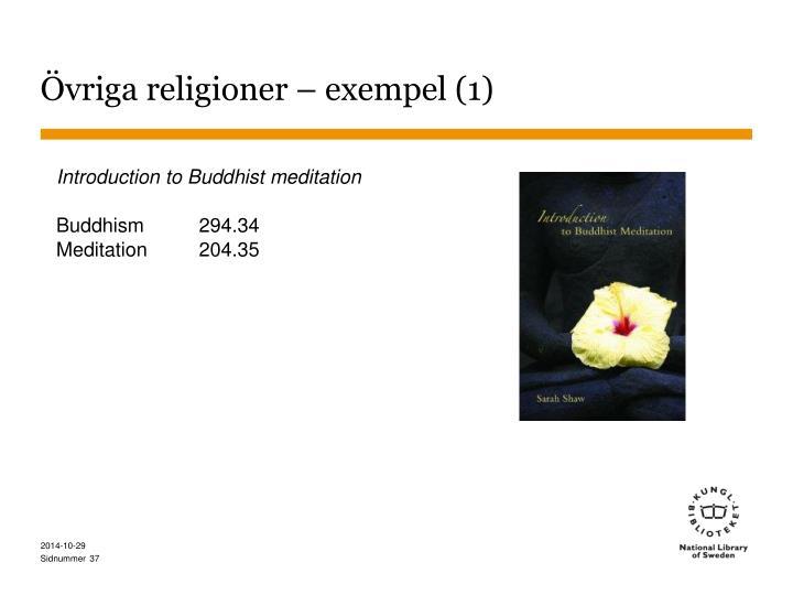 Övriga religioner – exempel (1)