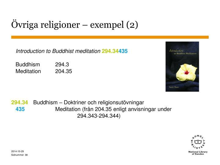 Övriga religioner – exempel (2)