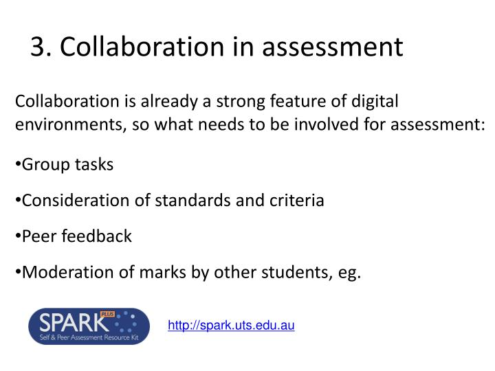 3. Collaboration in assessment