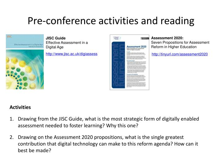 Pre-conference activities and reading