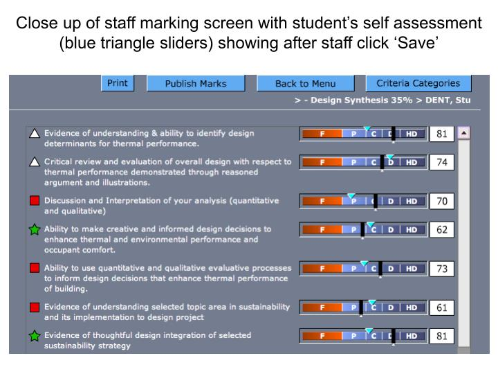 Close up of staff marking screen with student's self assessment