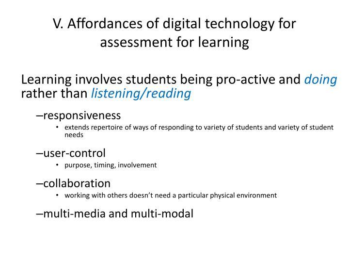 V. Affordances of digital technology for assessment for learning