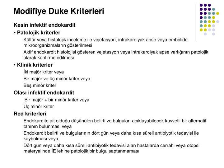 Modifiye Duke Kriterleri