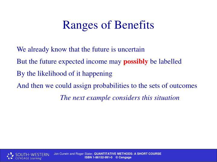 Ranges of Benefits