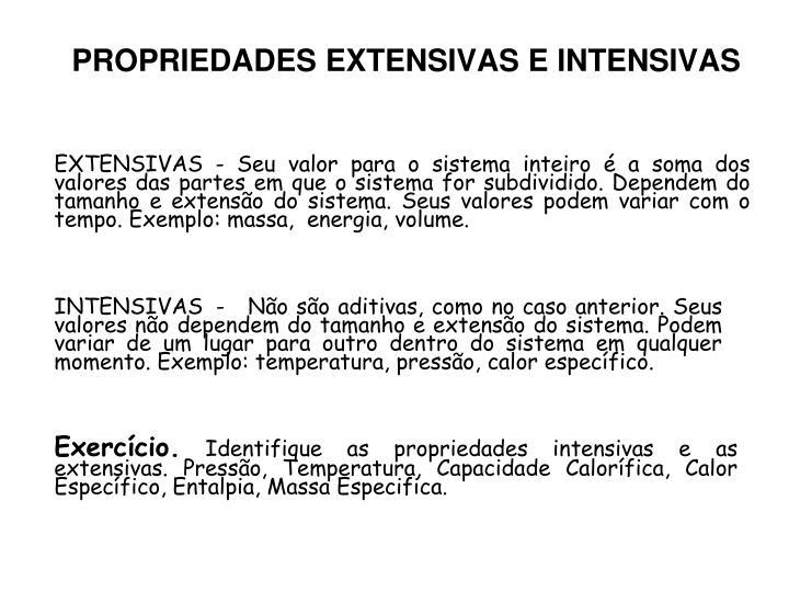 PROPRIEDADES EXTENSIVAS E INTENSIVAS