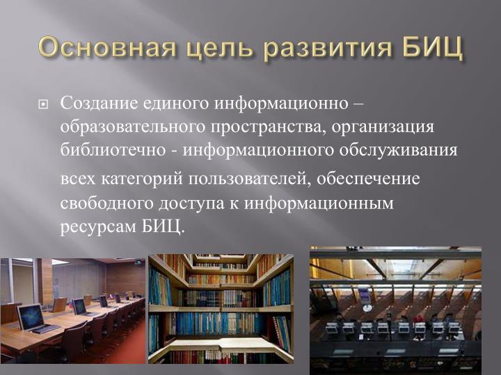 Основная цель развития БИЦ