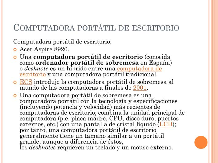 Computadora portátil de escritorio