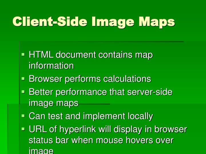 HTML document contains map information