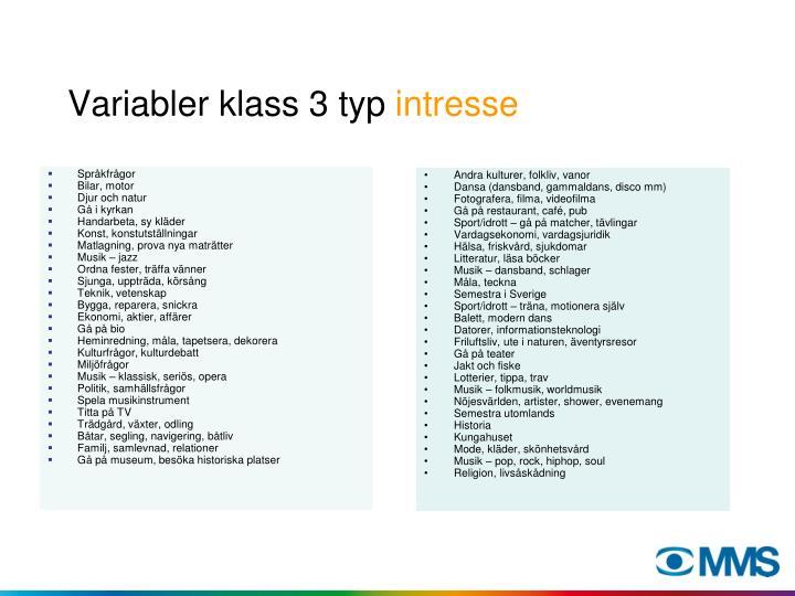 Variabler klass 3 typ