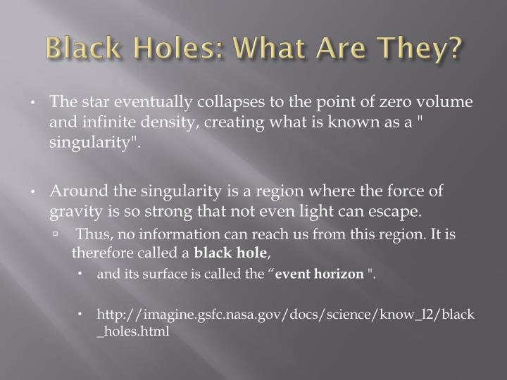 Black Holes: What Are They?