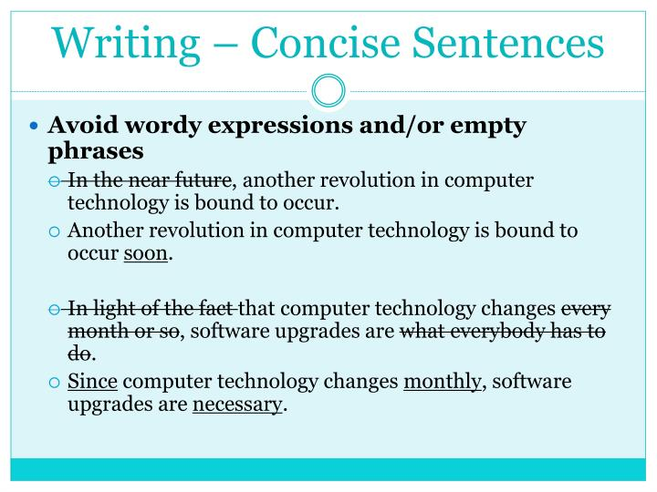 Writing – Concise Sentences