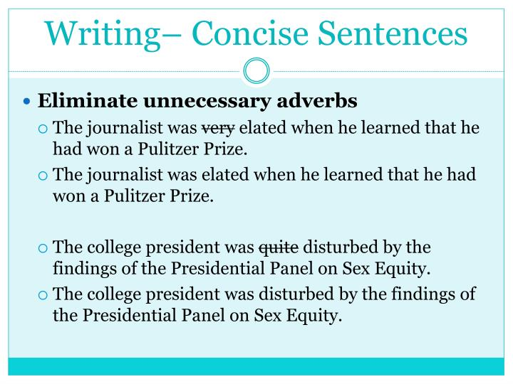 Writing– Concise Sentences