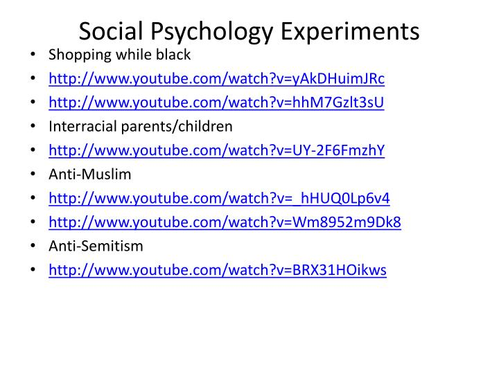Social Psychology Experiments