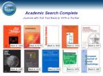 academic search complete journals with full text back to 1975 or further