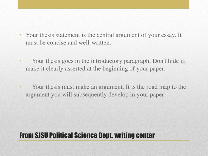 Your thesis statement is the central argument of your essay. It must be concise and well-written.