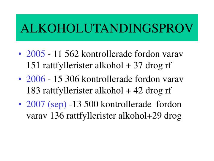 ALKOHOLUTANDINGSPROV