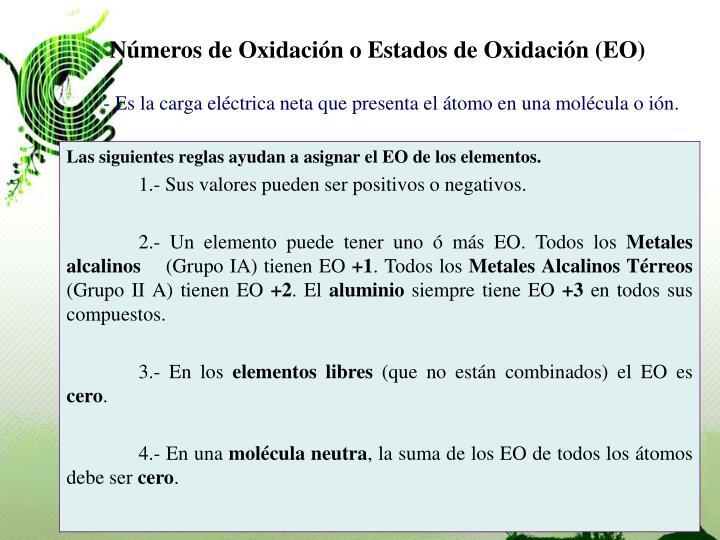 Números de Oxidación o Estados de Oxidación (EO)