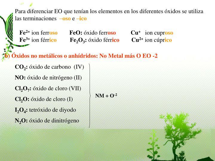 Para diferenciar EO que tenían los elementos en los diferentes óxidos se utiliza las terminaciones