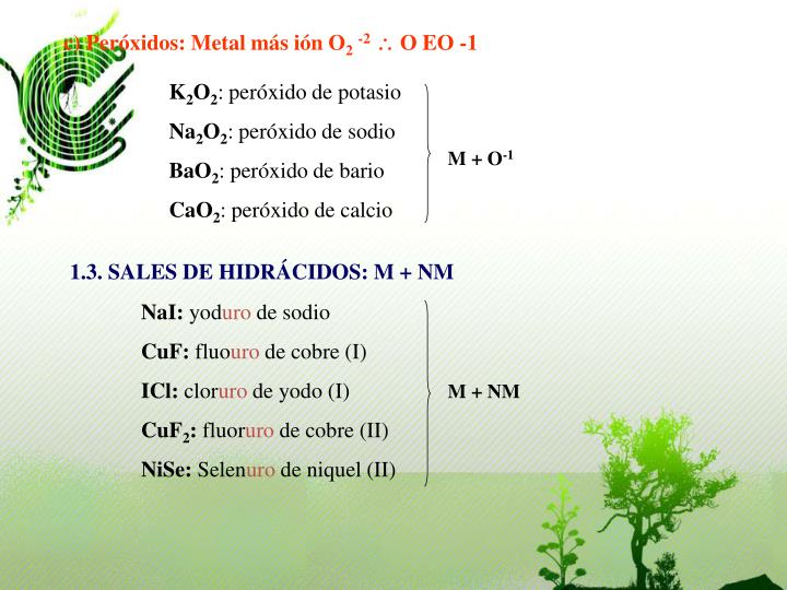 c) Peróxidos: Metal más ión O