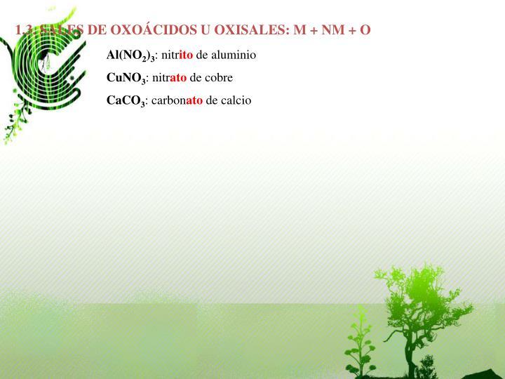 1.3. SALES DE OXOÁCIDOS U OXISALES: M + NM + O