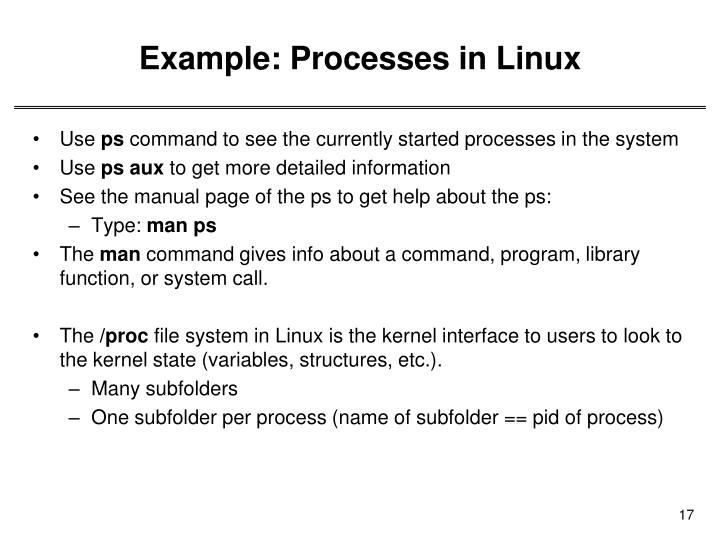 Example: Processes in Linux