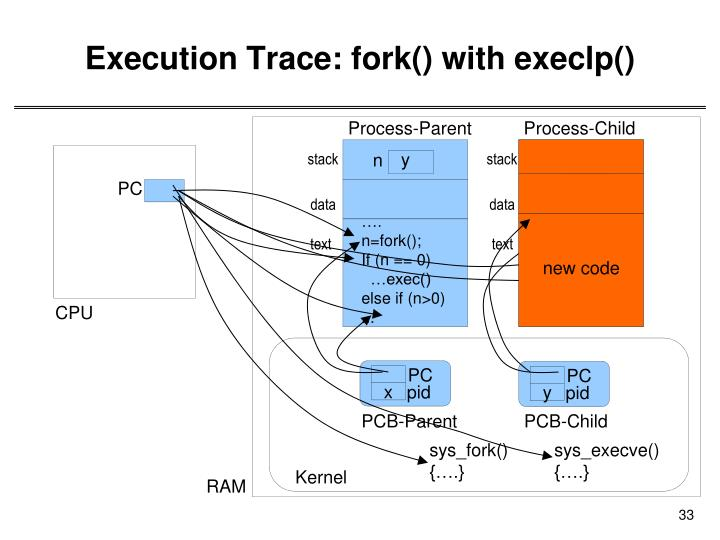 Execution Trace: fork() with execlp()