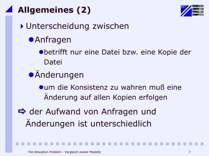 Allgemeines (2)
