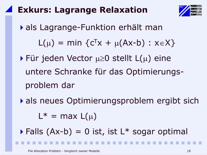 Exkurs: Lagrange Relaxation