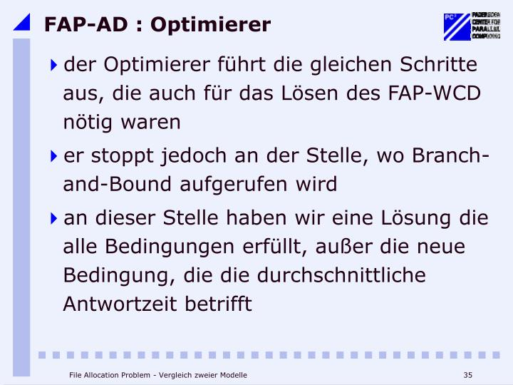 FAP-AD : Optimierer