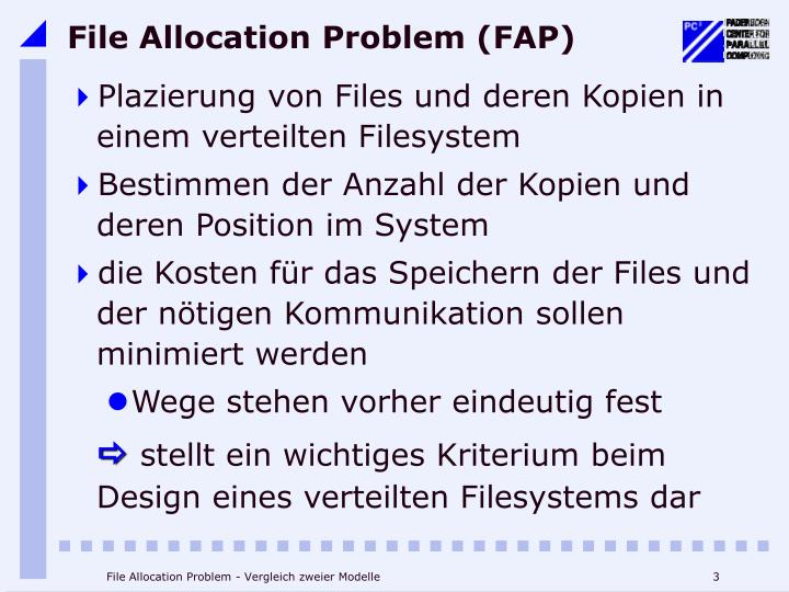File allocation problem fap