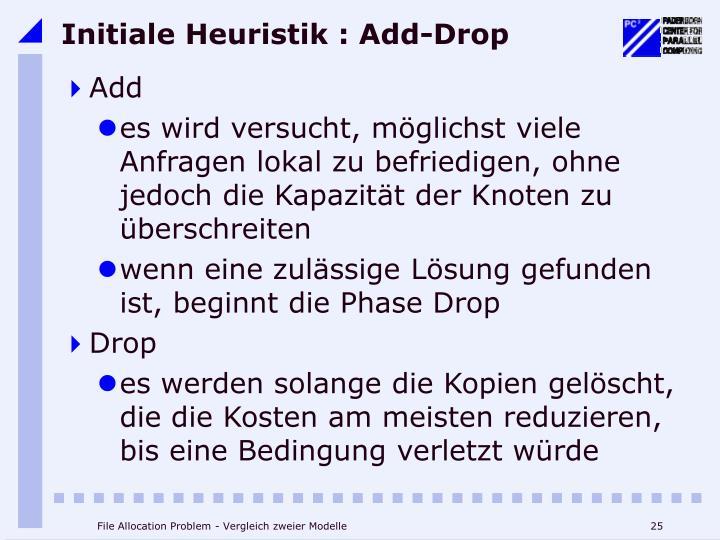 Initiale Heuristik : Add-Drop